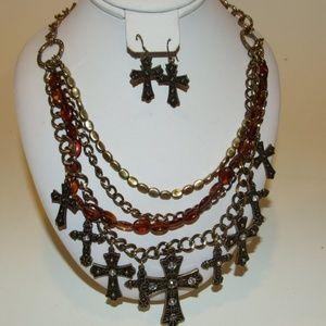 Jewelry - Faith Cross Necklace & Earring Multi Strand Set